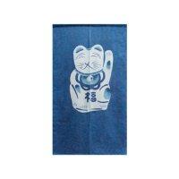 Aizome (Indigo-dyed) Noren Curtain Maneki Neko